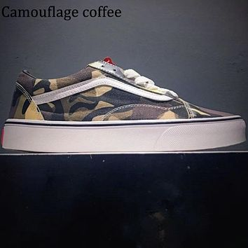 VANS classic casual camouflage canvas low cut skate shoes F0619-1 Camouflage Coffee