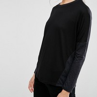 ASOS Linen Mix T-Shirt with Long Sleeves at asos.com