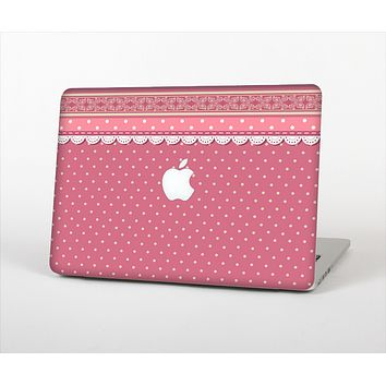 """The Pink & White Polka Dot Pattern V4 Skin Set for the Apple MacBook Pro 13"""" with Retina Display"""