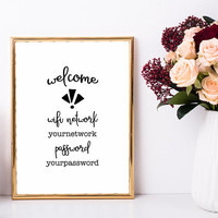 Wifi sign for office, Wifi password printable, 4x6, 5x7, 8x10, Guest room art print, Internet sign printable, Funny personalized wifi sign