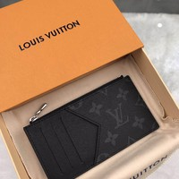 Kuyou Lv Louis Vuitton Gb19710 N64038 Damier Graphite Canvas Small Leather Goods Black Key & Card Holders Coin Card Holder  8.0 X 14.5 X 1.0 Cm