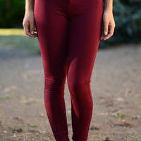 Fit to a Tee Jeggings - Wine