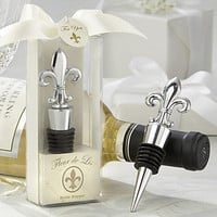 """fleur de lis"" elegant chrome bottle stopper"