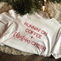SALE Running on Coffee And Christmas Cheer t-shirt  Holiday Graphic Tee funny slogan cute harajuku aesthetic shirt goth tee tops