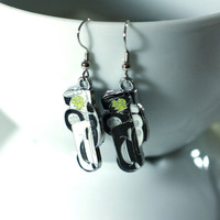 Black and White Lightening McQueen Race Car Enamel Charm Earrings - black race cars - cartoon earrings - MIX MATCH