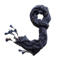 Eva Grey Blue Jamdani Crush Cotton Scarf