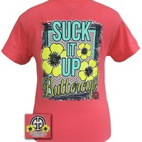 Girlie Girl Originals Collection Suck It Up Buttercup Coral Silk Bright T Shirt