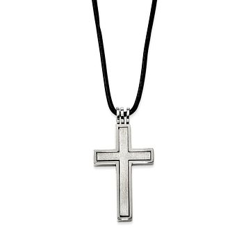 Stainless Steel and 2 Piece Leather Cord Cross Necklace