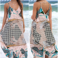 Riesling Sage Long Border Maxi Dress
