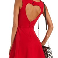 Heart-Back Ponte Skater Dress: Charlotte Russe