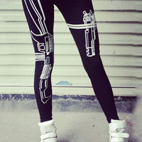 Black Gun Print Low Waist Cropped Leggings
