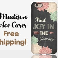 Find Joy In The Journey Chalkboard Adventure Quote Flower Chalk Travel Samsung Galaxy Note Edge S6 S7 iPhone 5s 4 4s 6 Plus Tough Phone Case
