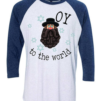 Rabbi OY to the World Fun Hanukkah Baseball Shirt  - Holiday 8 crazy nights Jewish Chanukah