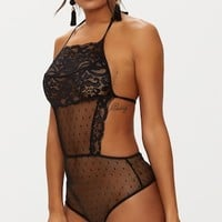 Black Lace Halterneck Backless Thong Bodysuit