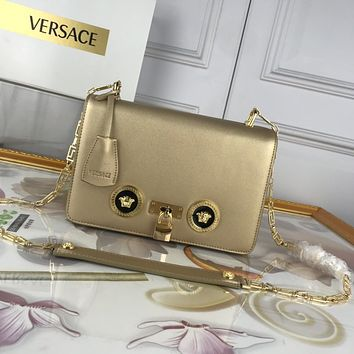 VERSACE WOMEN'S LEATHER 303K1 INCLINED CHAIN SHOULDER BAG