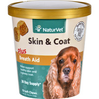 Naturvet Skin And Coat - Plus Breath Aid - Dogs - Cup - 70 Soft Chews