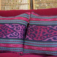 Boho Pillows Pillows, 20 Inch Pillows In Hand Woven Berry Ikat , Ethnic Cushion Covers Free Worldwide Shipping