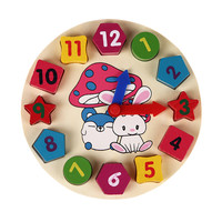 Baby Toy Kids Childrens Education Wooden Puzzle Toys Wooden Digital Clock Jigsaw Toy Geometry Stacking Toys