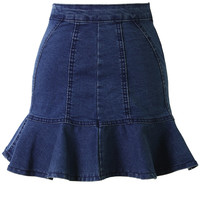 Fitted Denim Skirt with Frill Hem Blue