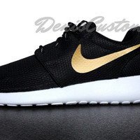 Nike Roshe Run One Black with Custom Gold Swoosh Paint