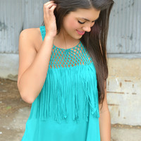 Turquoise Crochet and Fringe Top