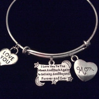 Mom I Love you to the Moon and Back Silver Expandable Charm Bracelet Adjustable Wire Bangle Gift