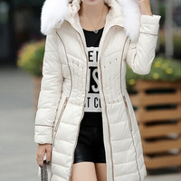 New 2015 women winter down coat fashion waist-controlled Hooded Raccoon Fur Collar Warm Women winter Jacket Casual Parkas womens coat = 1930238468
