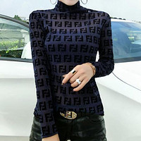 FENDI Hot Sale Popular Women Full F Letter Long Sleeve High Collar Top Base Shirt