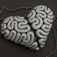 I Heart Brains Necklace in Gray Matter