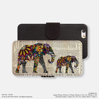 Elephant pattern newspaper iPhone Samsung Galaxy leather wallet case cover 108