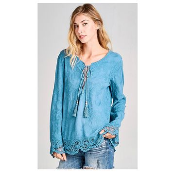 Darling Me! Lace Up Tassel Beautiful Blue Top