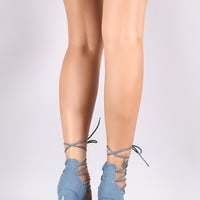 Rosette Embroidered Denim Lace-Up Chunky Heel