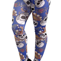 Blue Skulls And Jewelry Leggings Design 179