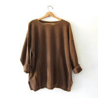 vintage oversized thermal shirt. textured pullover. Slouchy brown sweater.