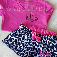 Girls monogrammed pajama set. Includes top and shorts. Several styles to choose from