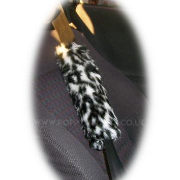 Snow Leopard print faux fur car seatbelt pads 1 pair