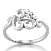 925 Sterling Silver Calligraphy Style Yoga, Aum, Om, Ohm, Sanskrit Ring, Size 8