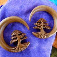 Bonsai Tree Stretch Earrings 8mm 0 gauge - Wood Bonsai Earring Gauge Plugs 0g - 8 mm Wood Stretch Ear - Tree of Life Tapers *A038