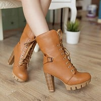 Lace Up Buckle Women Platform Boots High Heels Shoes Woman 3355