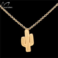 DIANSHANGKAITUOZHE Gold Plated Bijoux Tattoo Choker Silver Chain Ketting Cactus Necklaces Women Stainless Steel Christmas Gift