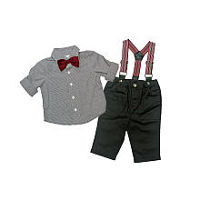 Koala Baby Boutique Boys 3 Piece Grey Plaid Button Down Shirt, Suspenders and Bow Tie with Pant Set