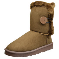 Womens Ankle Boots Single Button Closure Casual Comfort Shoes Tan SZ