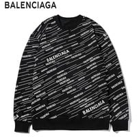 Balenciaga fashion hot sale printed round collar long sleeve casual hoodies for couples Black