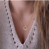 Kourtney Kardashian Style Circle Pendant Eternity Necklace