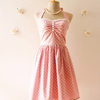 Cute Pale Pink Dress Tea Length Dress Classic Polka Dot Dress Bridesmaid Party Dress Once Upon A Time  -Size XS, S, M, L, CUSTOM-
