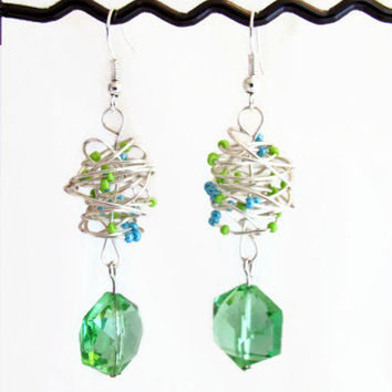 Green drop earrings, wrapped silver plated wire with green and blue seed beads, green crystal bead, silver plated, lead and nickel free