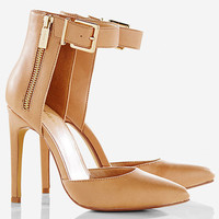 Pointed Toe Zip Side Ankle Strap Runway Pump from EXPRESS
