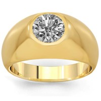 14K Solid Yellow Gold Mens Solitaire Clarity Enhanced Diamond Ring 1.45 Ctw | Rings