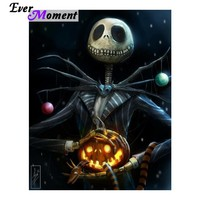 Ever Moment Diamond Painting Halloween Skull Pumpkin DIY 5D Diamond Embroidery Special Gift for Festival Art Craft ASF822