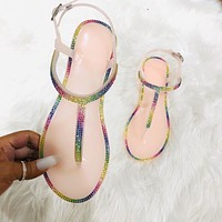 Fashion Rhinestone Color Rhinestone Belt Slippers Women's Shoes Crystal Plus Size Sandals